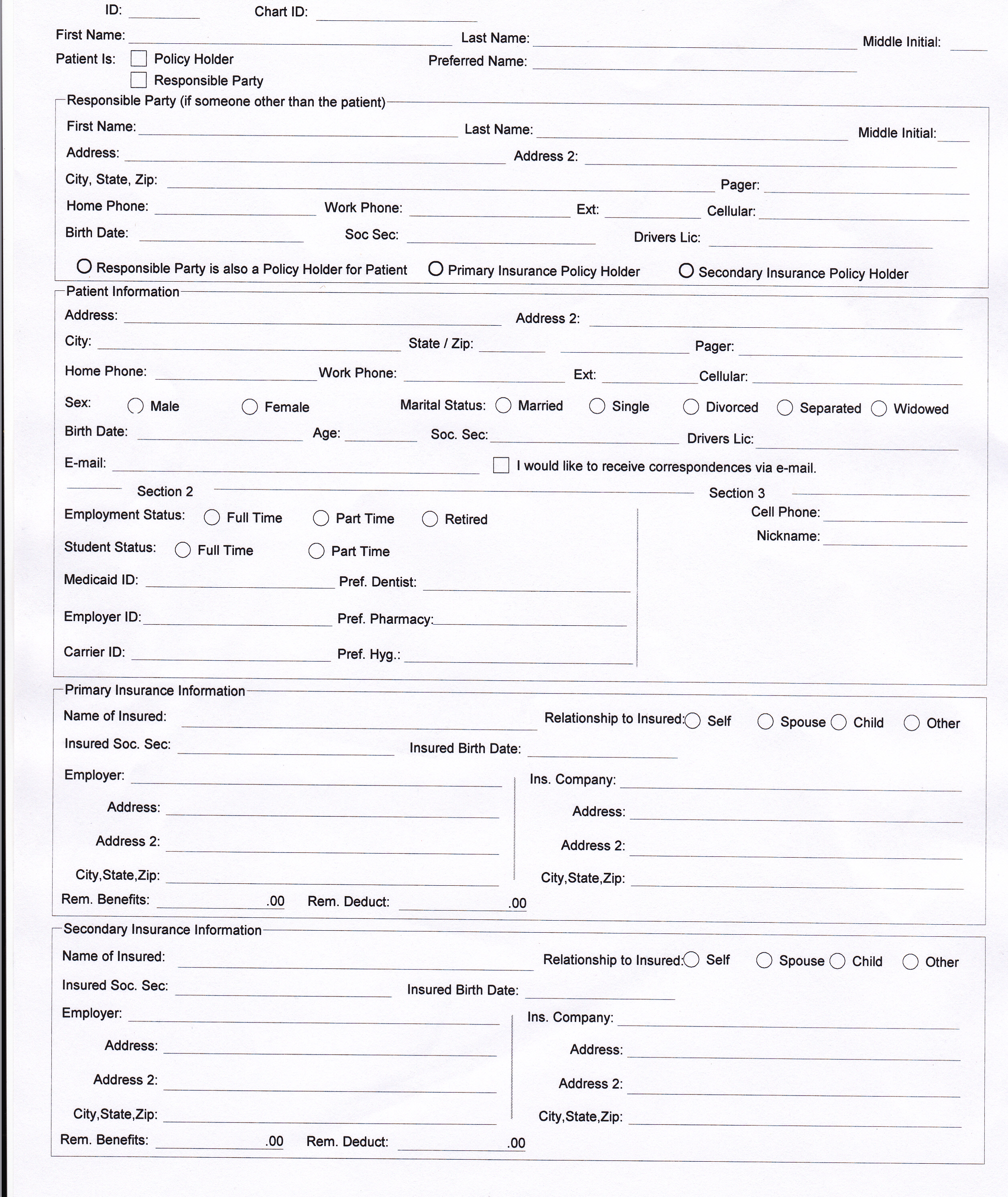 Another dental patient form.